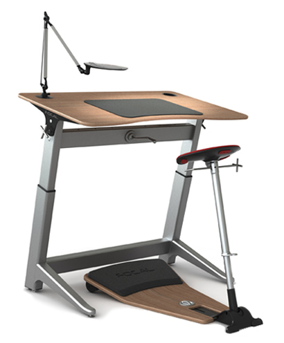 Focal locus standing workstation for Chairs for standing desks